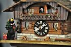 Swiss Chalet Cuckoo Clock with Christmas Bear; Works Great; See Video