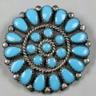 Sterling Silver Turquoise Native American Cluster Brooch Pendant Petite Point