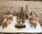 Vintage Olive Wood Handmade Christmas Nativity Set Of 13 Pieces Total