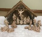 Vintage Large Nativity Set 17 Pieces with Stable Atlantic Ceramic Antique Glaze