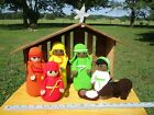 Nativity Set Large with Wooden Stable Crocheted Hand Crafted