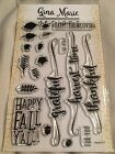 Gina Marie clear unmounted cling stamp set Happy Fall words stamp set
