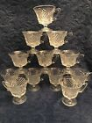 SET OF 12 VINTAGE 1950s INDIANA COLONY BAROQUE FOOTED PUNCH CUPS CROSS HATCH -EC