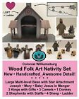 Wood Folk Art NATIVITY SET from Colonial Williamsburg VERY DETAILED Retired NEW