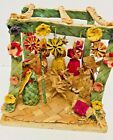 Vintage South American or Mexican Folk Art Straw Nativity Christmas