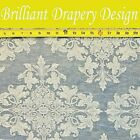 Jacquard Blue White Floral Design Upholstery Drapery Bedding Fabric 5 YDS BDD