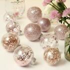 Clear Stuffed Christmas Ball Ornaments Decorative Set Decorations 24 Rose Gold