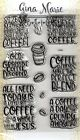 Gina Marie clear unmounted cling stamp set Coffee Words