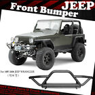 For 1987 2006 Jeep Wrangler TJ YJ W D rings Front Bumper Guard Textured Black