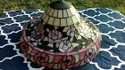VTG Large Tiffany Style Stained Glass Swag Lamp Shade Pink Roses 19 1 2 Inch