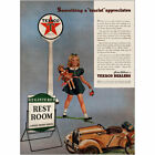 1941 Texaco: Tourist Approaches Rest Room Vintage Print Ad