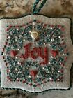 """""""Joy"""" Christmas Ornament Hand stitched Needlepoint completed Vintage"""