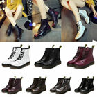 Womens Martin Combat Boots Lace Up Casual Antiskid Leather Round Toe Low Heel