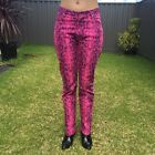 Hot Pink Snakeskin Pant Jean Size 10 Rock Star Club Festival Costume Halloween