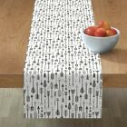 Table Runner Hand Drawn Aztec Native Arrows Arrow Black White Cotton Sateen