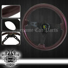350mm Luxury Wood Shiny Finish Steering Wheel Dark Brown + Horn Button Jdm Badge