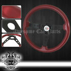 350mm Classic Old School Style Red Wood Grain Steering Wheel +Type-R Horn Button