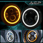 7 75W Round Black LED Dual Headlight DRL Bar Hi Lo For Wrangler Jk Harley Bike