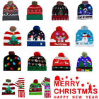 LED Christmas Party Beanie Christmas Santa Hat Light Up Knitted Hat Adult Kids