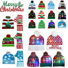 Various LED Christmas Beanie Light Up Hat Snowflake Tree Party Knitted Cap US