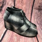 Toms Womens Desert Wedge Ankle Wool Boots Gray Black White Plaid Booties Sz 9