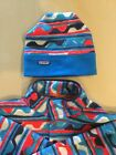 Patagonia Synchilla Snap Fleece Aztec Native Blue Red Mens M and Hat S