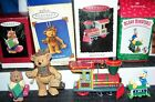 Hallmark Ornament LOT Merry Miniatures Donald Duck TRAIN Teddy Bears Gift Bearer