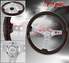 350mm Dark Wood Chrome Steering Wheel Race Button Horn Light Weight 3 Spokes