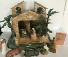 Vtg Large Christmas Nativity Manger Creche Mercuries Greccio Heirloom 1992 EC