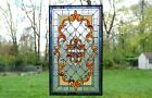 Handcrafted Jeweled stained glass window panel 205W x 3475H