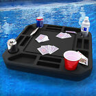 Floating Medium Poker Table Game Tray Pool Beach Float Lounge USA Made w Cards