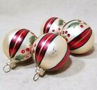CHRISTMAS GLASS ORNAMENT LOT OF 4 BALLS RED CREAM STRIPED HOLLY BERRY GLITTER 2