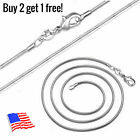 925 Sterling Silver Plated Snake Chain Necklace 2mm 16 18 20 22 24 28 30