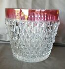 Vintage Indiana Glass Diamond Point Ruby Ice Bucket 5 1/2
