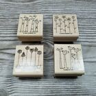 Stampin Up SIMPLE SOMETHINGS 4pc Set Baby Carriage Flowers Birds Potted Plants