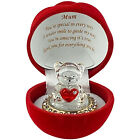 MUM Love Heart Teddy Bear Red Rose Mother Day Birthday Gift Boxed Glass Ornament