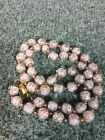 Stunning vtg Venetian murano Copper foil Pink art glass Beads Italian necklace