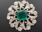 Vintage Signed Ciner Emerald Green Color Gripoix Glass Rhinestone Flower Pin