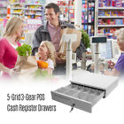 5 Grid 6 Coin Pos Cash Register Drawer Cashbox Money Box Tray Lock Storage