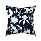 Wildflowers Summer Native Navy Throw Pillow Cover w Optional Insert by Roostery