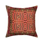 Kilim Squares Native Aztec Ikat Throw Pillow Cover w Optional Insert by Roostery