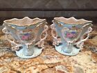 ANTIQUE PAIR OF FRENCH LIMOGES VASES HAND PAINTED PORCELAIN