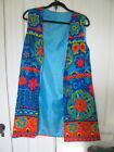 HIPPY 60s LONG COLORFUL VEST FLOWER POWER M 12 AS IS OPEN LINING SEAM