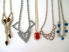 Vintage Art Deco Rhinestone Necklaces Mixed Colors Shapes  Sizes Lot of 5