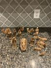 Vtg 15 Piece Wood Carved Christmas Nativity Set Primitive Decor Camels Sheep