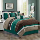 Clearance Sale Chezmoi Collection 7 Piece Pleated Comforter Set Teal Brown