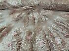 Dusty Rose Blush Hand Beaded Lace 3d Floral Flowers Fabric By The Yard Sweet 16