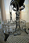 Antique Barbour Bro Silverplate Cut Glass Aesthetic Dragonfly Brides Basket RARE
