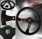 350mm Deep Dish Suede Leather Red Stitches Steering Wheel Wakaba Mark Jdm Button