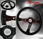 350mm Deep Dish Jdm Suede Leather Red Stitching Steering Wheel Button Logo Horn